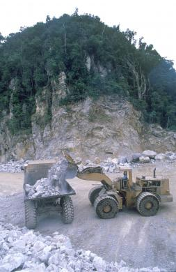 Photo - MINING, INDONESIA  Digger being used to mine